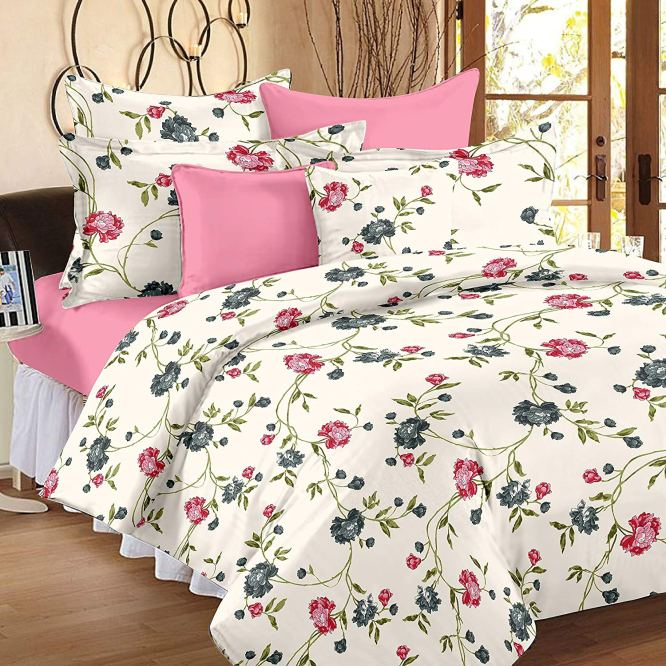 Comfort Size Cotton King Size Dubai Bedsheet with 2 Pillow Covers