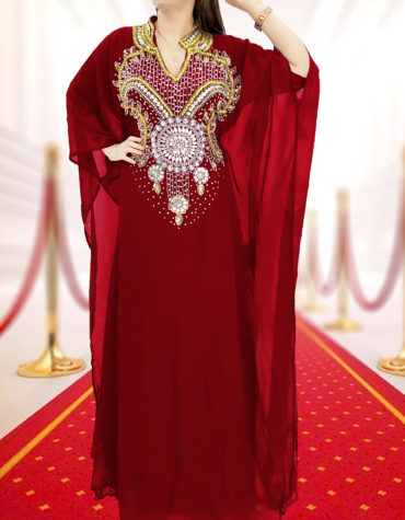 Embellished Wedding Moroccan Dress Plus Size Robe Dubai Kaftan Abaya for Women-Burgundy
