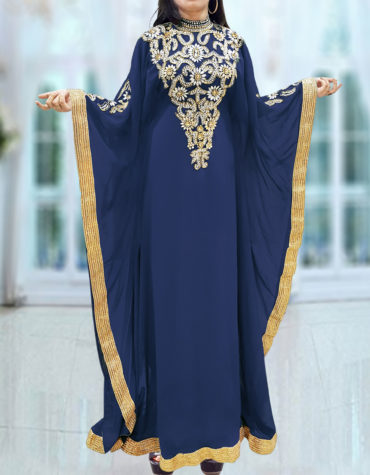 Caftan Dresses for Women Long Sleeve Formal Maxi Gown Evening African Dress-Navy blue