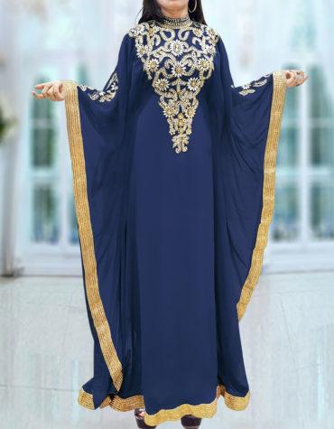 Caftan Dresses for Women Long Sleeve Formal Maxi Gown Evening African Dress-Navy blue