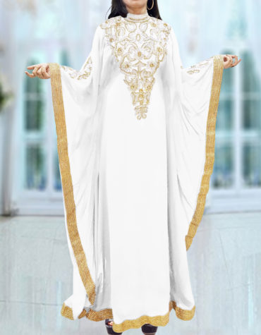 Caftan Dresses for Women Long Sleeve Formal Maxi Gown Evening African Dress-White