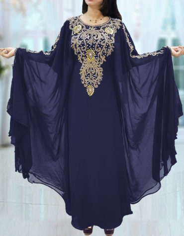 Dubai Kaftan for Women Beads work Maxi Dress Gown Formal Chiffon African Wear-Navy Blue