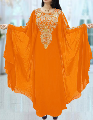 Dubai Kaftan for Women Beads work Maxi Dress Gown Formal Chiffon African Wear-Orange