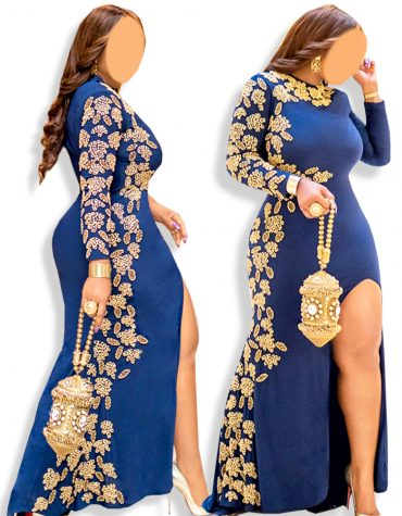 Gold Beaded Wedding Evening Prom Party Wear One Side Slit moroccan Lycra kaftan
