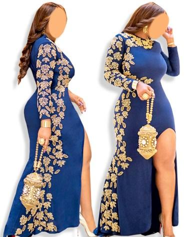 Gold Beaded Wedding Evening Prom Party Wear One Side Slit moroccan Lycra kaftan