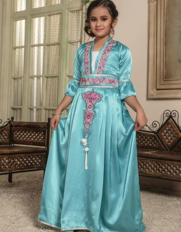 African Kids Gold Beaded Kaftan Baby Girls Islamic clothing Dubai Satin Abaya