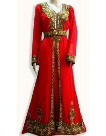 African Muslim Golden Crystal Beaded Jalabia Abaya Red Chiffon Kaftan Sexy Evening Dress
