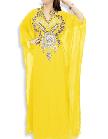 Embellished Wedding Moroccan Dress Plus Size Robe Dubai Kaftan Abaya for Women-Yellow