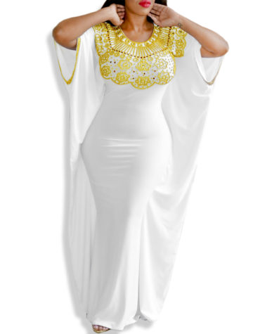 New African With Golden Morrocan Abaya Lycra Kaftan