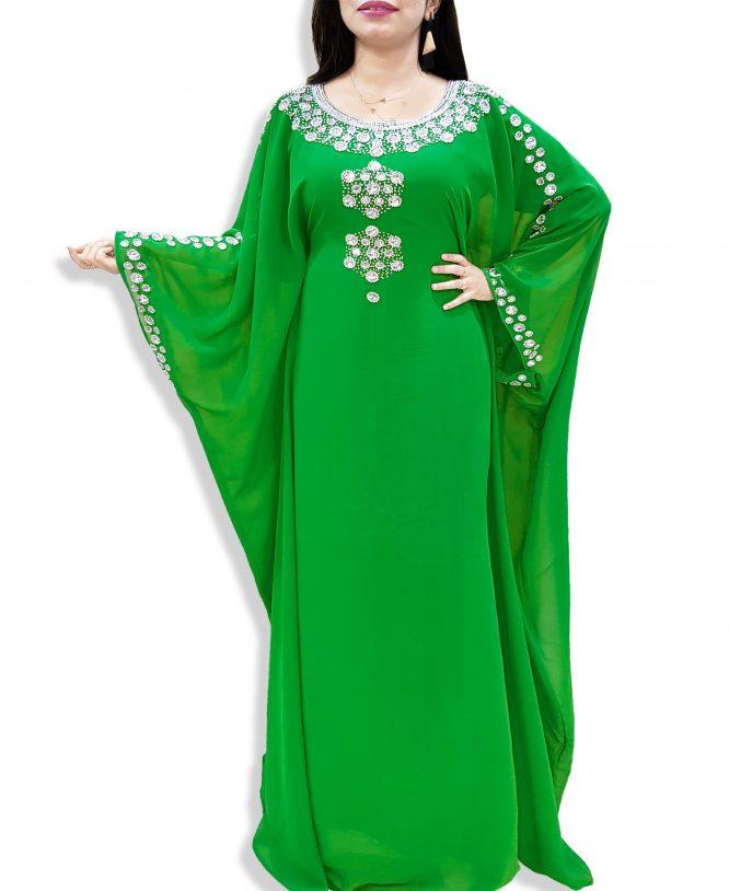 African Evening Dresses Crystal Beaded Long Sleeves Abaya Moroccan Kaftan