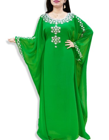 African Evening Dresses Crystal Beaded Long Sleeves Abaya Moroccan Kaftan