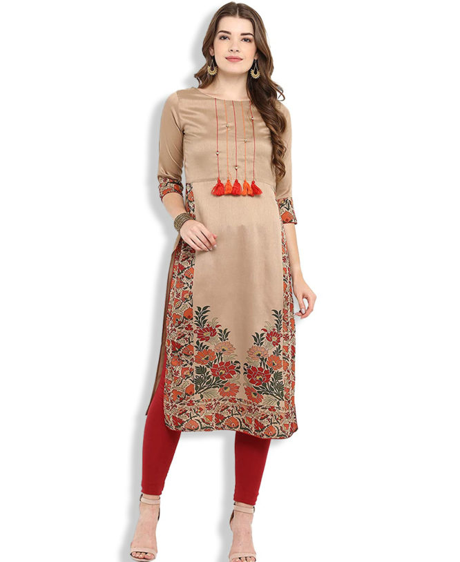 African Boutique Women's Brown Poly Silk Straight Floral Print Kurta