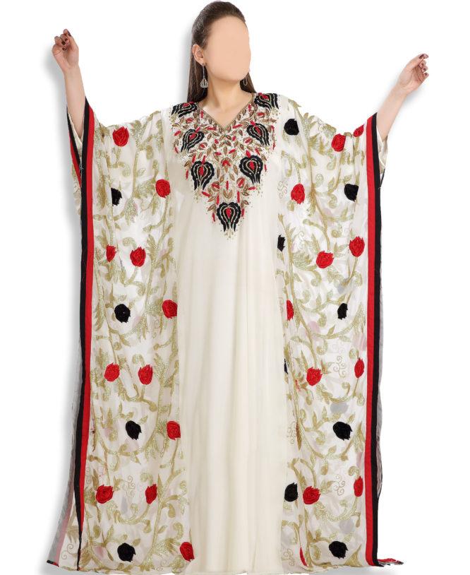White Kaftan African Gowns Formal Evening Wedding Party Dresses for Dubai women
