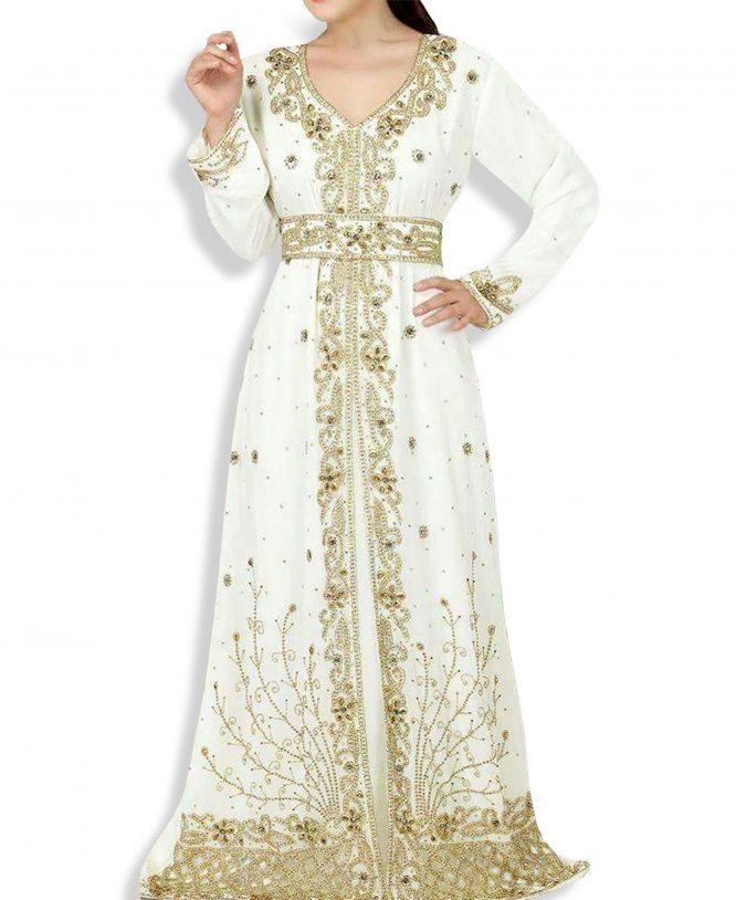 African Abaya Attire Golden Beaded Crystal Shining Chiffon Kaftan
