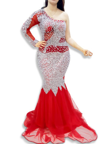 Women's Mermaid One Side Shoulder Long Sleeves with Silver Appliques Evening Dress
