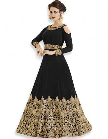 Celebrity Style Party Wear and Exclusive Wedding Designer Embroidered Black Gown