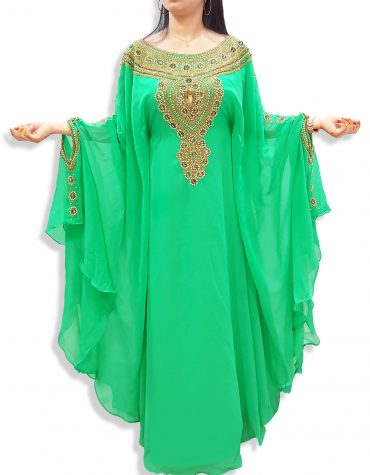 Moroccan Long Gold Embellished Abaya Dubai Kaftan Beaded Maxi Dress