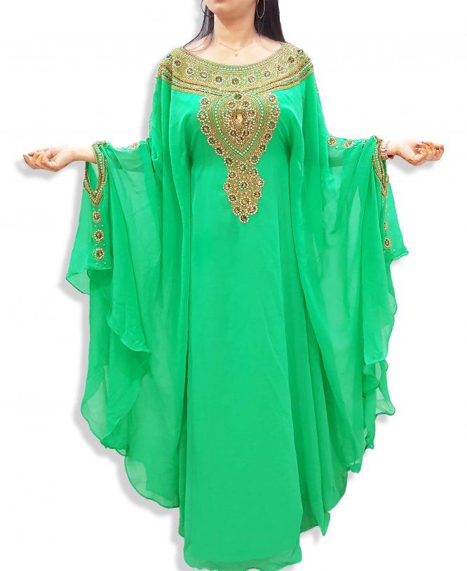 Moroccan Long Gold Embellished Abaya Dubai Kaftan Beaded Maxi Dress