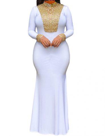 Elegant Collared Neck Gold Moroccan Mermaid Prom African Spandex Dresses