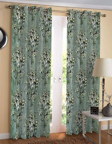 Heavy Long Crush Polyester Floral Print Green Tree Eyelet Curtains Set of 2