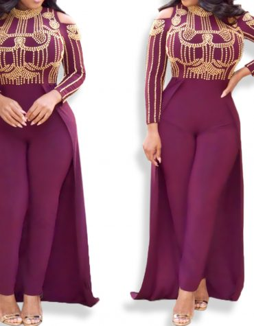 African Attire Cut Shoulder Collared Long Sleeve Women Lycra Moroccan Jumpsuit kaftan