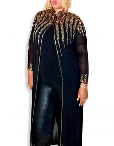 Crystal Beaded Beach Cover Up Long Chiffon Party Wear Womens Dubai Kimono Kaftan