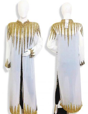 Beach Cover Up Long Chiffon Party Wear Beaded Womens Dubai Kimono Kaftan-White
