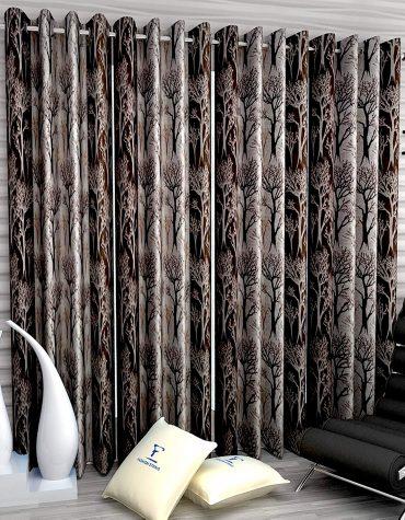 Polyester 4 Pieces Long Door Semi Transparent Curtain Set 9 feet Long