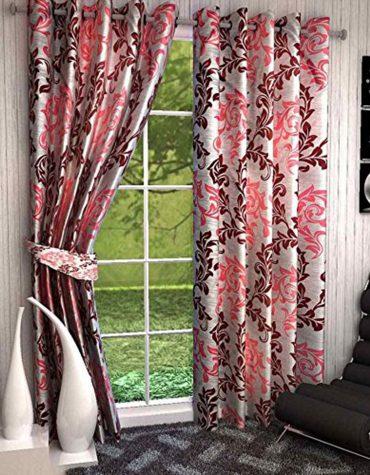 2 Piece Eyelet 100% Polyester Flower Printed Long Window & Door Curtain Set