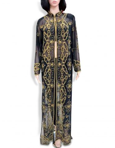 African Beach Cover Up Long Chiffon Party Wear Embroidery Women's Dubai Kaftan