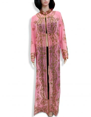 African Beach Cover Up Long Chiffon Party Wear Embroidery Women's Dubai Kaftan-Pink