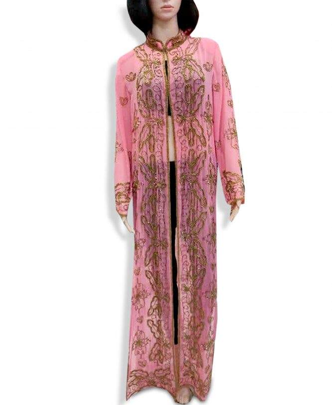 African Beach Cover Up Long Chiffon Party Wear Embroidery Women's Dubai Kaftan-Pink