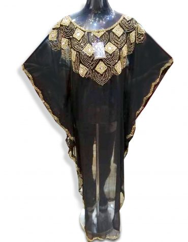 Elegant African Attire Beach Cover up Evening Beaded Abaya Women Dubai Kaftan