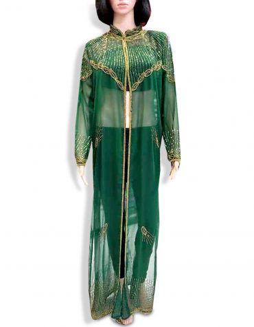 Beach Cover Up Long Chiffon Party Wear Beaded Womens Dubai Kaftan-Green