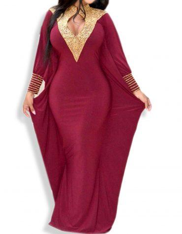 Wedding Party Wear Collared Neck African Abaya Dresses For Women Spandex Kaftan