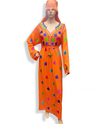 Elegant V-Neck Embroidered Women Party Wear Long Stitched Orange Rayon Gown