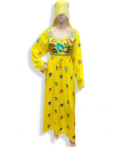 Dubai Embroidered Yellow Rayon Women Party Wear Long Stitched Dress