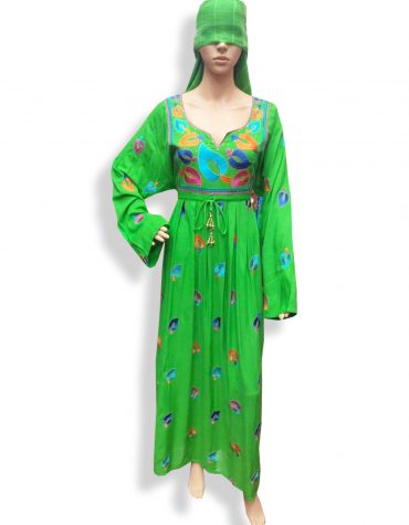 Dubai Embroidered Rayon Women Party Wear Long Stitched Green Dress