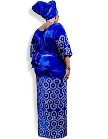 African Silver Blue George designer Dress Material for Women Dubai Party 2020