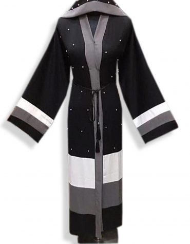 Elegant Modest Islamic Designer Soft Nida Fabric Black Dubai Abaya for women