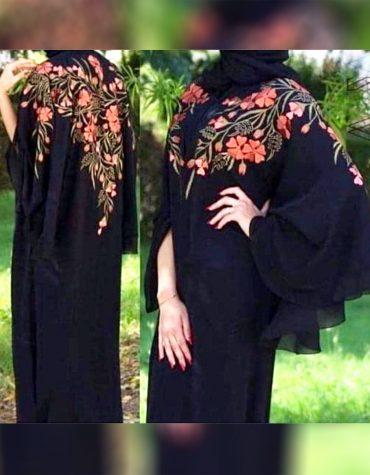Formal Imported Soft Nida Fabric Embroidery Bell Sleeve Dubai Muslim Abaya for women