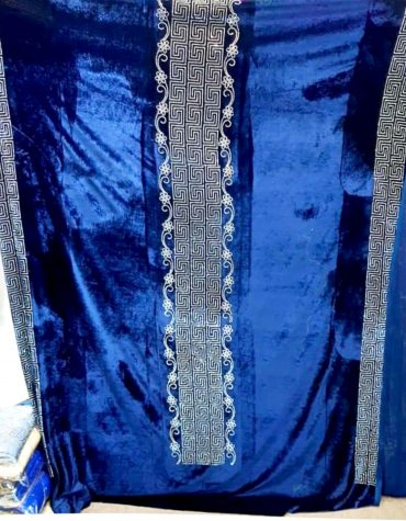 Blue Wedding Piece with Millions of Rhinestone Glitter Velvet Dress Material