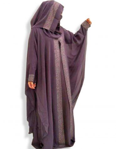 Ladies Islamic Rhinestone Designer Soft Nida Fabric Long Sleeve Dubai Abaya With Headscarf