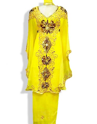 African Women Dress Yellow and Gold Mothers Wedding Attire Dresses