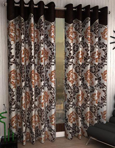 2 Piece Eyelet Polyester Long Door Curtain Set - 9ft, Brown
