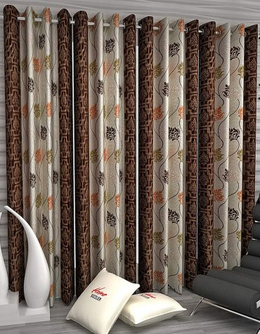 Floral 4 Piece Eyelet Polyester Long Door Curtain Set - 9ft, Brown