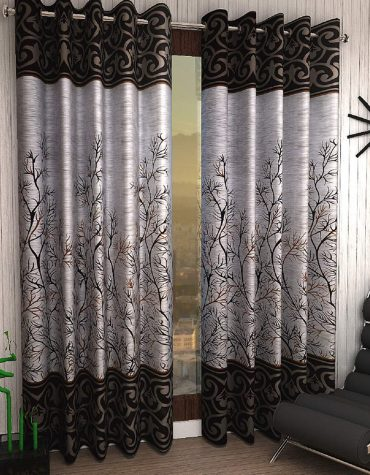 Shalimar Frill Panel Garden 2 Piece Eyelet Polyester Long Door Curtain Set - 9ft, Brown