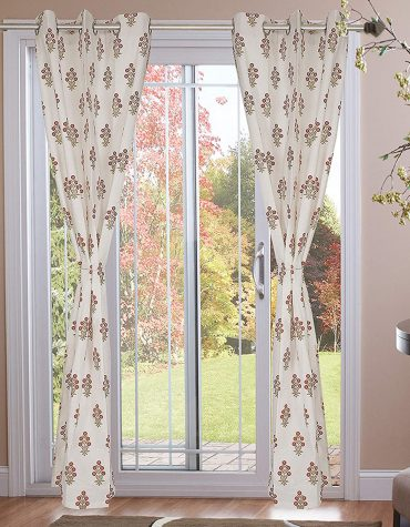 100% Cotton Hand Block Gold & Mustard Yellow Flower Printed Eyeleted Curtains The Size Length 9ft