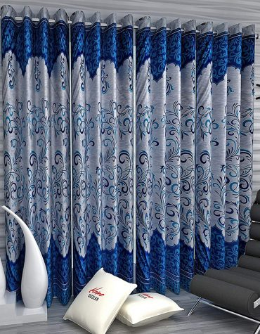 4 Piece Eyelet Polyester Window Curtain - 5ft, Blue