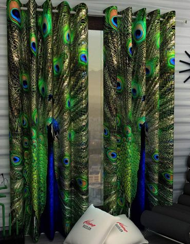 2 Piece Digital Print Polyester Long Door Curtains - 9 feet